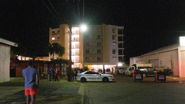 Police cordon off the Palms Motel in Darwin.