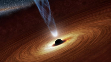 An artist's illustration of a supermassive black hole, with a spinning jet of matter shooting out.