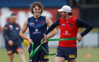Mitch Brown (right) at Melbourne training.