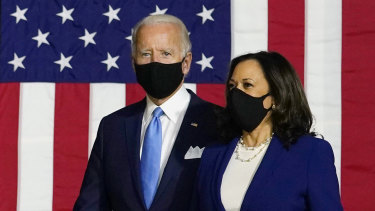 Joe Biden and running mate Kamala Harris have made a point of wearing masks at their joint events.