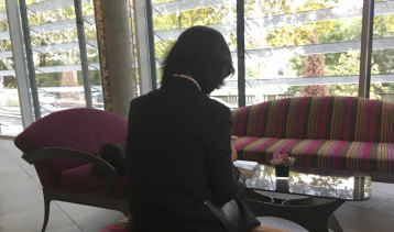 Meng Hongwei's wife Grace Meng, who does not want her face shown, consults her mobile phone in the lobby of a hotel in Lyon, France.