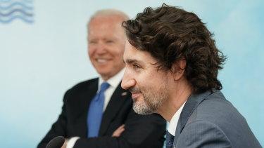 Presiden AS Joe Biden dan Perdana Menteri Kanada Justin Trudeau menghadiri KTT G7.