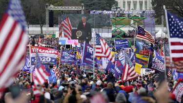Donald Trump addresses supporters at a rally in Washington on January 6, before the riot at the Capitol.