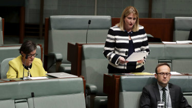 Crossbench MPs Cathy McGowan, Rebekha Sharkie and Adam Bandt during Question Time at Parliament House on Wednesday.