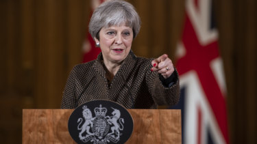 UK Prime Minister Theresa May speaks following air strikes in Syria on Saturday.