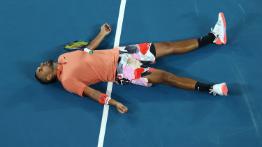 Nick Kyrgios is down and out during his loss to Rafael Nadal.