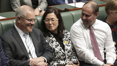 Prime Minister Scott Morrison, Gladys Liu and Treasurer Josh Frydenberg in Parliament last month.