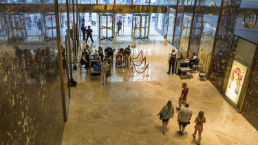 The lobby of Trump Tower in New York.