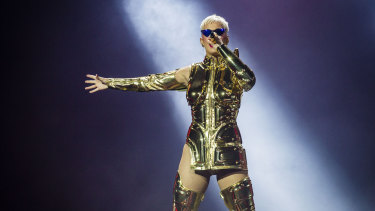 Singer Katy Perry performs during her opening show at Perth Arena in Perth.
