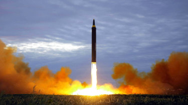 A test launch of a Hwasong-12 intermediate range missile in Pyongyang, North Korea.