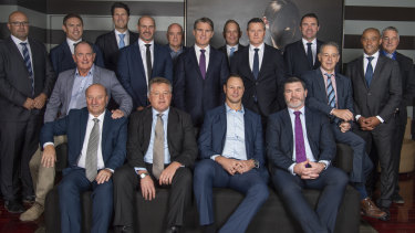 Daniel Herbert, front right, with other members of Australia's 1999 World Cup winning squad and management team.