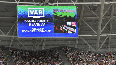 Helping hand: The VAR was called on to award Australia.