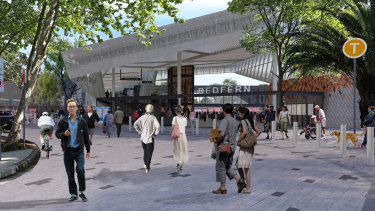 The planned Marian Street entrance on the eastern side of the station and shared zone.