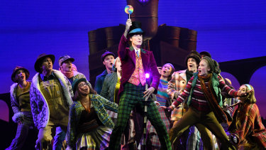 The Charlie and the Chocolate Factory cast performing on stage at Her Majesty's Theatre in Melbourne.