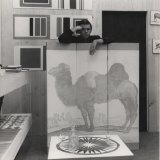 Designer Barry Daniels in the 1960s with DANAD screen.