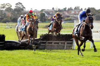 Brungle Cry winning the 2012 Grand National Hurdle.