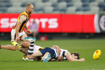Patrick Dangerfield is tackled by Shaun Burgoyne during Friday night's match at GMHBA Stadium.
