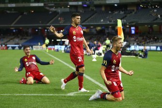 A jubilant Stefan Mauk celebrates after scoring in Adelaide's win over Melbourne Victory.