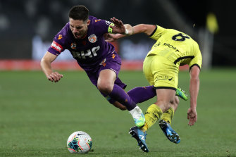 Bruno Fornaroli is tackled by Cameron Devlin.