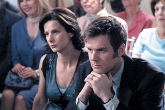 With Peter Krause in Six Feet Under, for which she won a Golden Globe and (as part of the ensemble cast) two Screen Actors Guild awards.