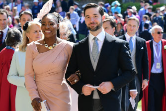 Serena Williams and her husband Alexis Ohanian arrive at St George's Chapel at Windsor Castle for the wedding.