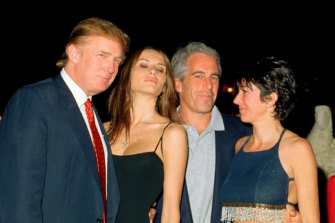 Then real estate developer Donald Trump and his wife-to-be, Melania Knauss, with Jeffrey Epstein and Ghislaine Maxwell at the Mar-a-Lago club in Palm Beach, Florida, in 2000.