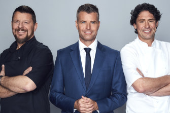 Manu Feildel, Pete Evans and Colin Fassnidge in MKR: The Rivals.