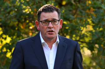 Victorian Premier Daniel Andrews addresses the media during a press conference in Melbourne, Wednesday, April 1, 2020.