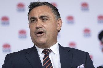Zero cases: Acting NSW Premier John Barilaro addresses the media on Monday.