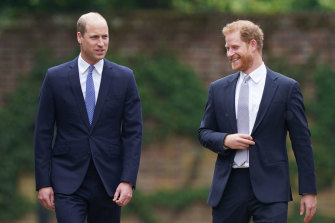 William and Harry were all smiles on the way to the statue unveiling ceremony.