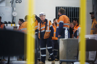 West Gate Tunnel workers at the Footscray tunnelling site on Somerville Road.