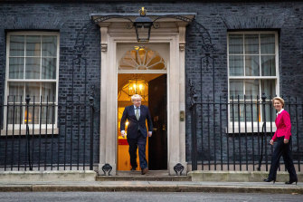 Boris Johnson greets EU Commission president Ursula von der Leyen at No. 10 Downing Street.