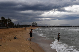Thick clouds over St Kilda beach this afternoon.