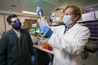 Harry Al-Wassiti (L) and Colin Pouton are working on a COVID-19 vaccine at Monash University.