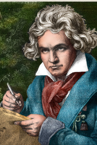 Beethoven, pictured in an engraving, rarely revealed his sources.