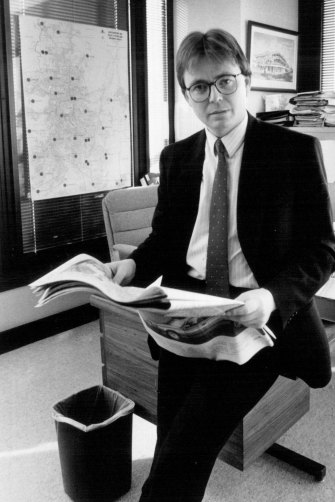 Future prime minister Kevin Rudd, pictured in 1989 when he was private secretary to then-opposition leader Wayne Goss.