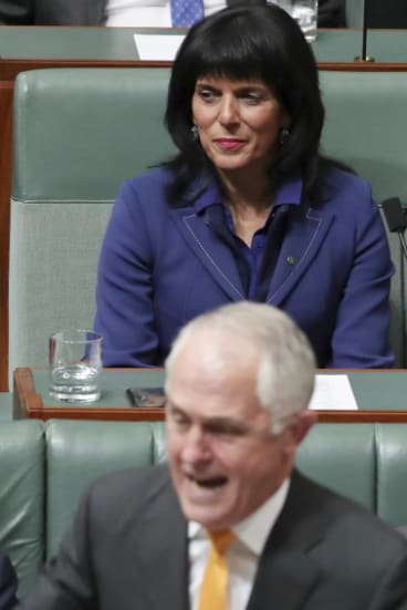 Happier time: Liberal MP Julia Banks and then prime minister Malcolm Turnbull in Parliament.