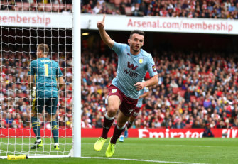 Aston Villa's John McGinn after scoring his team's first goal against Arsenal at Emirates Stadium.
