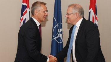 Prime Minister Scott Morrison meets NATO Secretary-General Jens Stoltenberg on Wednesday.