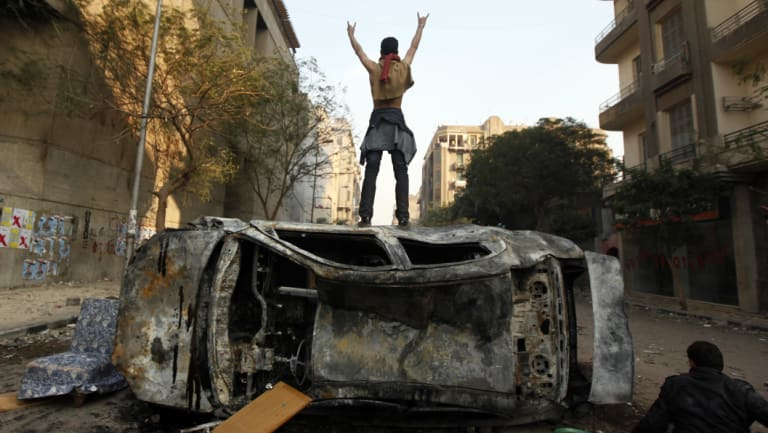A protester in Cairo's Tahrir Square,  November 2011.
