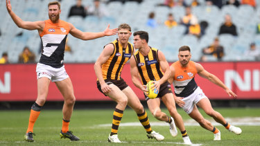 Fast forward: Hawthorn's Jaeger O'Meara eyes the up-field options.
