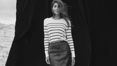 Calvin Klein knit, $130, from David Jones. Bassike skirt, $1895.