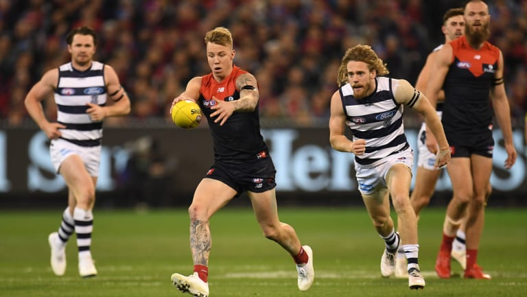 Hard and fast: Wayne Harmes helped Melbourne turn the tables on Geelong in their elimination final on Friday night.