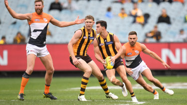 The Hawks beat the Giants in front of an uncharacteristically small crowd on Sunday.