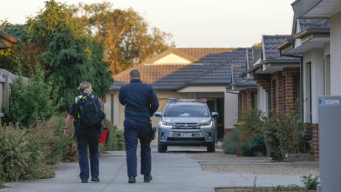 Police at the scene in Rodney Street, Gisborne.