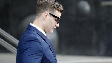 Dane Marsden Cordner leaves Newcastle Local Court on Monday.