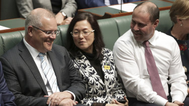 Prime Minister Scott Morrison, Gladys Liu and Treasurer Josh Frydenberg in Parliament last month.