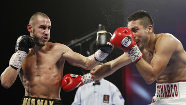File photo of boxer Maxim Dadashev (left), who has died after injuries suffered in the ring last Friday.