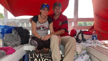 Homeless couple Kylie Rinkin and Allan Holloway in their riverside 'apartment' at Kangaroo Point.
