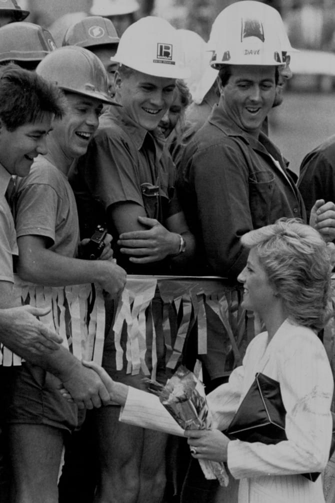 Princess Diana greets workers at Darling Harbour during construction in February  1988.